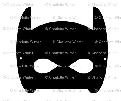 Bat Hero Mask - Superhero kids Monochorme black and white design