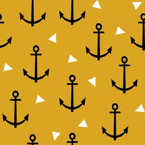 anchor tri goldenrod mustard triangle nautical summer kids boy girl gender neutral organic cotton knit for kids design nurseries leggings mocs cute fabric
