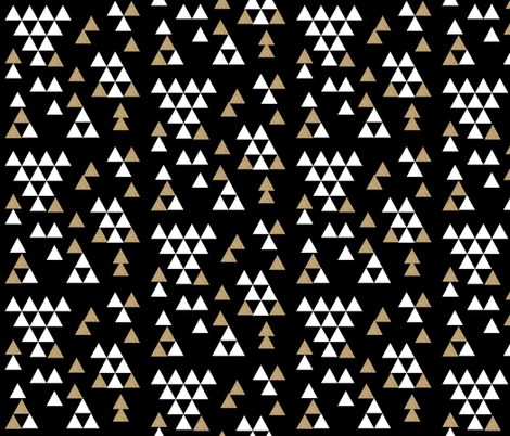 gold glitter black triangle town fabric by charlottewinter on Spoonflower - custom fabric