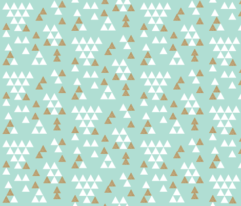 mint gold glitter triangle town fabric by charlottewinter on Spoonflower - custom fabric