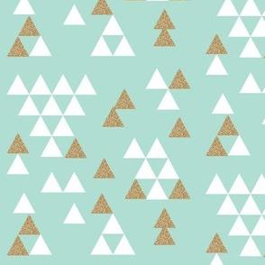 mint gold glitter triangle town