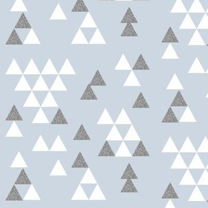 sky blue pastel nursery silver glitter triangle town