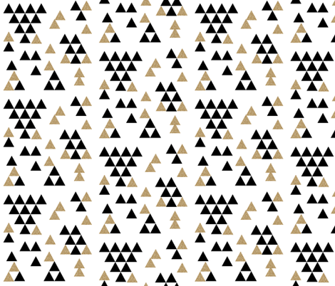 black white gold glitter triangle town fabric by charlottewinter on Spoonflower - custom fabric