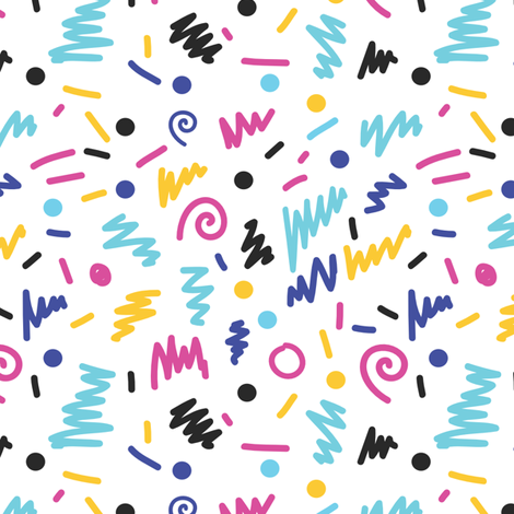 memphis rad shapes 80s bright colors shapes circles minimal modern rad design fabric by charlottewinter on Spoonflower - custom fabric