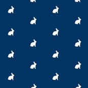 White Bunny Navy Polka Dot
