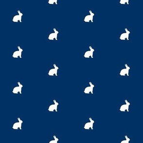 White Bunny Navy Polka Dot