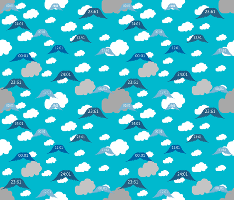 High_Noon__Time_is_Flying_away fabric by ruthjohanna on Spoonflower - custom fabric
