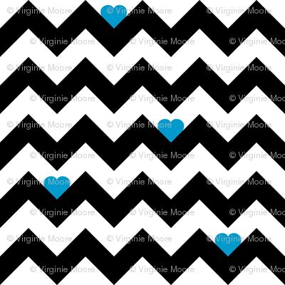 heart & chevron - black/blue- mini