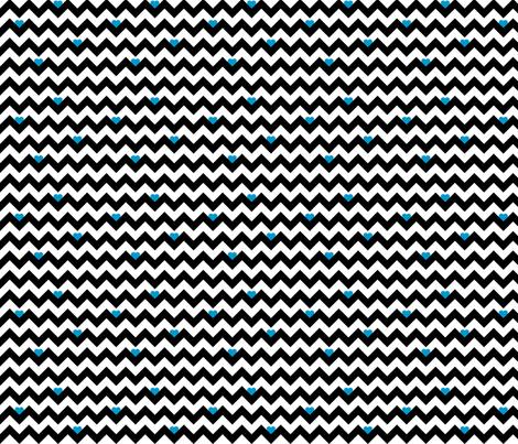 heart & chevron - black/blue- mini fabric by minky_gigi on Spoonflower - custom fabric