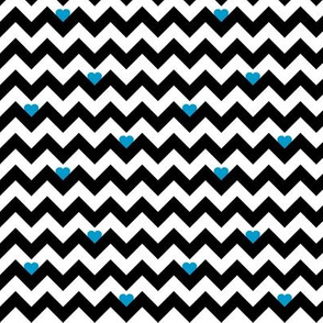 heart & chevron - black/blue- mini