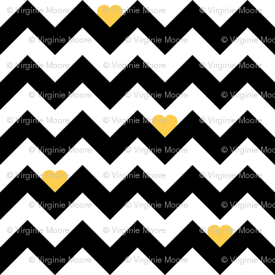 heart & chevron - black/yellow - mini