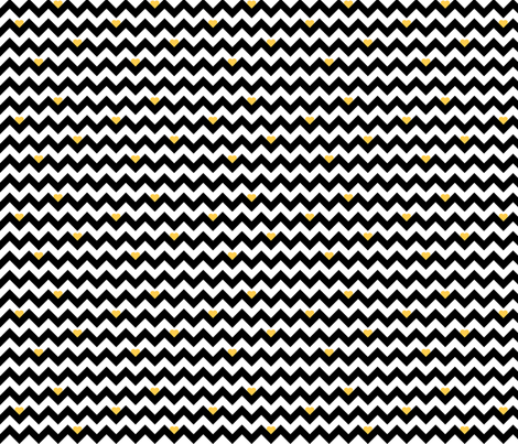 heart & chevron - black/yellow - mini fabric by minky_gigi on Spoonflower - custom fabric