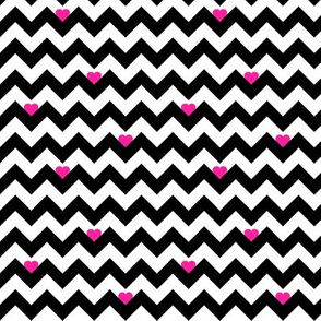 heart & chevron - black/pink- mini