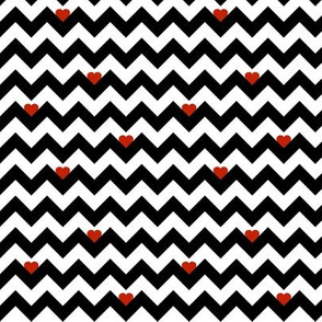 heart & chevron - black/red - mini