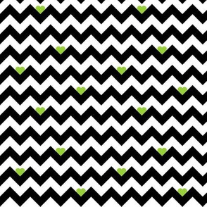 heart & chevron - black/green - mini