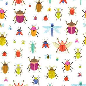 Abstract bugs and beetles colorful pattern