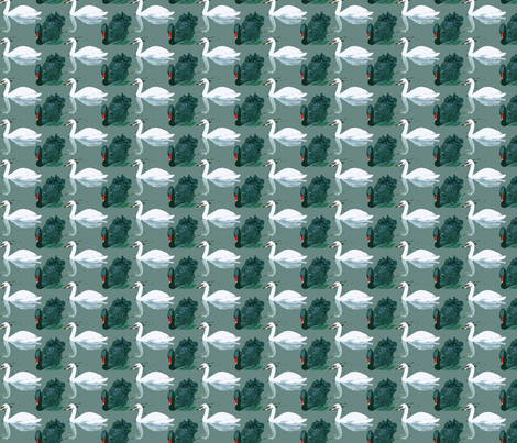 swan fabric by kana_hata on Spoonflower - custom fabric