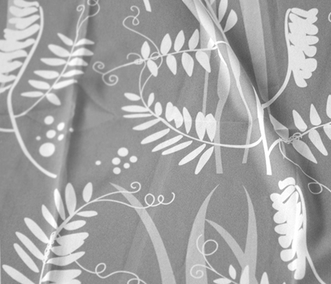 Meadow Flower Fabric Gray and White / Scandinavian Style White Flowers / Northern Wedding Flowers Floral / Vetch and Hays Grey