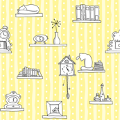 Shelves & Clocks & Cats - light yellow