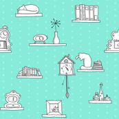Shelves & Clocks & Cats