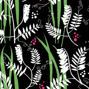 Scandinavian Meadow Flowers Black and White with Green or Vetch and Hays Colourful