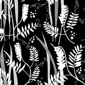 Scandinavian Meadow Flowers Black and White or Vetch and Hays Monochrome