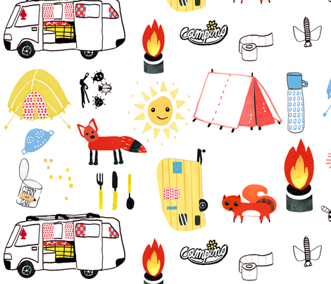 Let's go camping! fabric by dorrithrem on Spoonflower - custom fabric