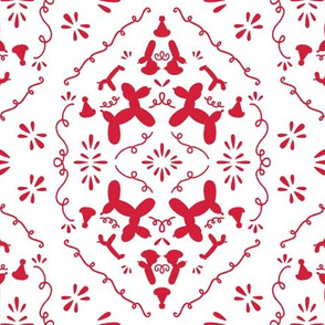 Balloon animals damask in red