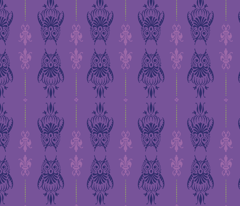 Purple Owl Brocade fabric by pinkowlet on Spoonflower - custom fabric