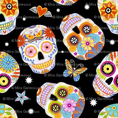 sugar skulls - black, large