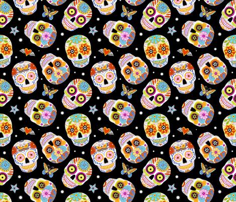 sugar skulls - black, large fabric by mirabelleprint on Spoonflower - custom fabric