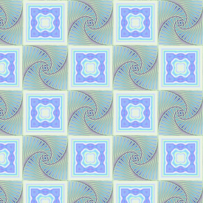 Soft Blue and Pale Honeydew Green Iris Folded Spirals and Tiles