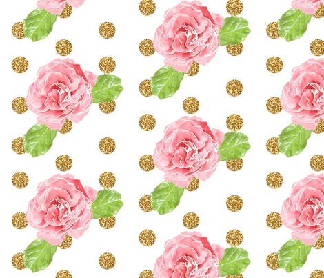 Watercolor Rose Glitz!  fabric by willowlanetextiles on Spoonflower - custom fabric