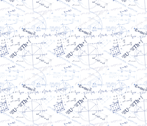 Equations (Navy on White) fabric by studiofibonacci on Spoonflower - custom fabric