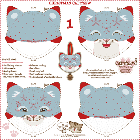 Nordic Cat Decorations 01 fabric by woodmouse&bobbit on Spoonflower - custom fabric