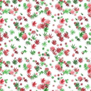 420 3-D Leaf Tumble on White