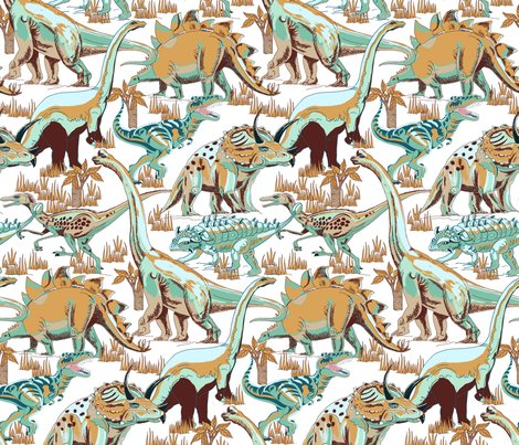 Rdinosaurs_aqua__browns__beige_on_white_shop_preview