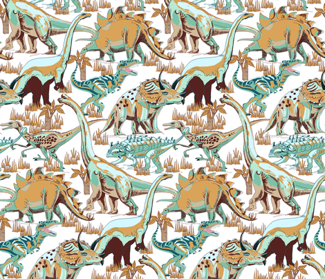 Dinosaurs Aqua, Beige, Brown, Gold. fabric by art_on_fabric on Spoonflower - custom fabric