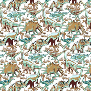 Dinosaurs Aqua, Beige, Brown, Gold.