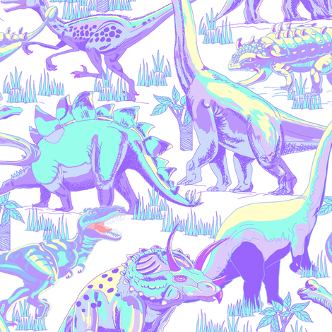 Pastel Dinosaurs. fabric by house_of_heasman on Spoonflower - custom fabric