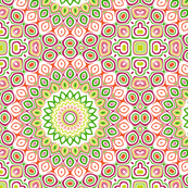 Pink, Green, Yellow and Orange Kaleidoscope Flowers