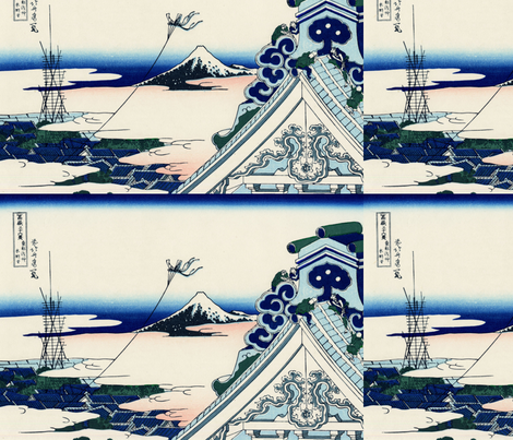 Asakusa Hongan-ji temple in the Eastern capital (Edo) fabric by studiofibonacci on Spoonflower - custom fabric