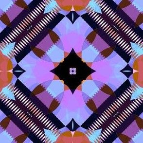 Bright Purple Blue and Black Kaleidoscope Large
