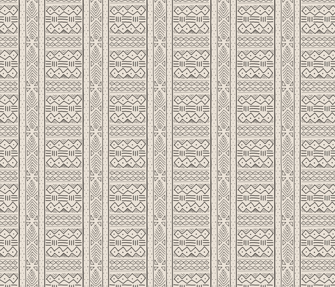 Mudcloth (mini) black on bone fabric by domesticate on Spoonflower - custom fabric