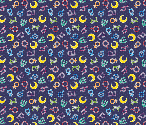 Sailor Scout Symbols Navy Fabric Electrogiraffe Spoonflower