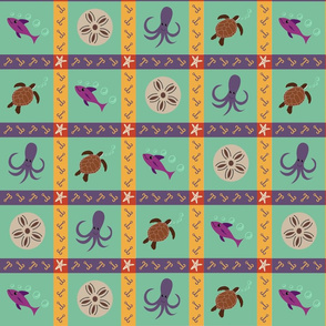 Marine Life Faux Quilt