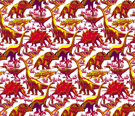 Red Hot Dinosaurs. fabric by art_on_fabric on Spoonflower - custom fabric