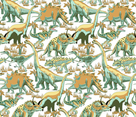 Teals_and_Gold Dinosaurs. fabric by art_on_fabric on Spoonflower - custom fabric