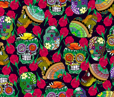 Calaveras_Design on_Deep_Purple fabric by house_of_heasman on Spoonflower - custom fabric