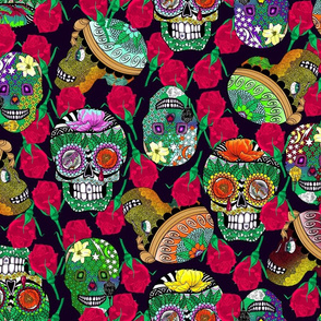Calaveras_Design on_Deep_Purple